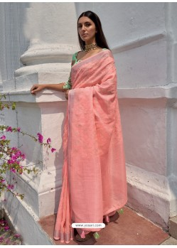 Peach Designer Party Wear Embroidered Cotton Sari