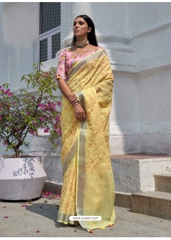 Light Yellow Designer Party Wear Embroidered Cotton Sari