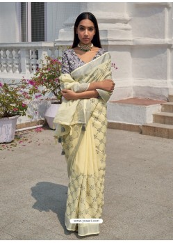 Cream Designer Party Wear Embroidered Cotton Sari