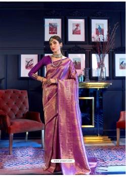 Purple Designer Party Wear Handloom Weaving Sari