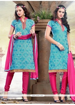 Blue And Pink Chanderi Churidar Designer Suit