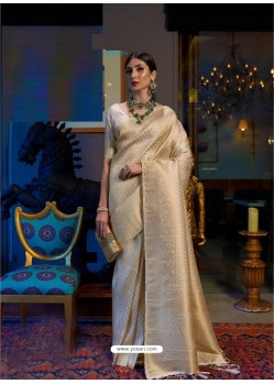 Cream Designer Party Wear Handloom Weaving Sari