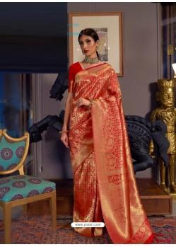 Red Designer Party Wear Handloom Weaving Sari