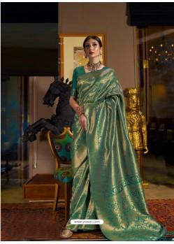 Teal Designer Party Wear Handloom Weaving Sari