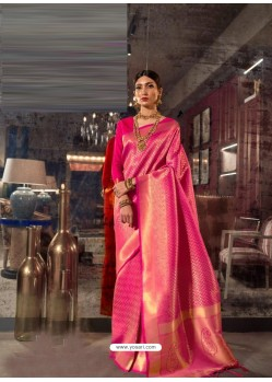Fuchsia Designer Party Wear Handloom Weaving Sari