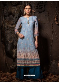 Blue Fabulous Designer Party Wear Heavy Georgette Kurti