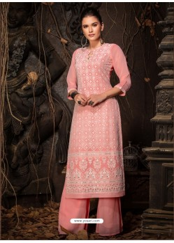 Peach Fabulous Designer Party Wear Heavy Georgette Kurti