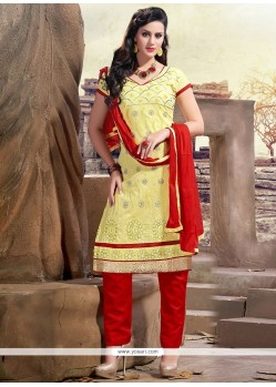 Stupendous Lace Work Red And Yellow Chanderi Churidar Designer Suit
