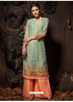 Sea Green Fabulous Designer Party Wear Heavy Georgette Kurti