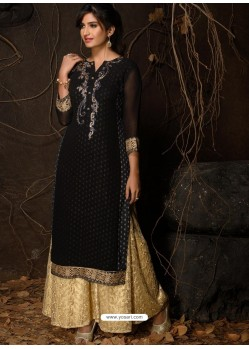 Black Fabulous Designer Party Wear Heavy Georgette Kurti