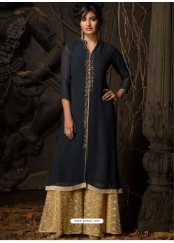 Navy Blue Fabulous Designer Party Wear Heavy Georgette Kurti