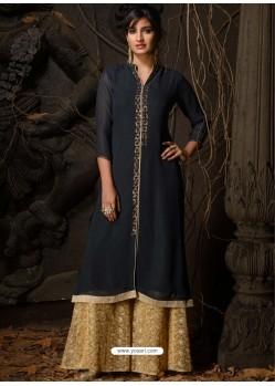 Navy Blue Fabulous Designer Party Wear Heavy Georgette Kurti