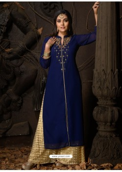 Royal Blue Fabulous Designer Party Wear Heavy Georgette Kurti