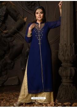 Royal Blue Fabulous Designer Party Wear Heavy Georgette Kurti