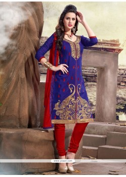 Prime Blue Lace Work Churidar Designer Suit