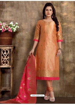Orange Readymade Heavy Designer Party Wear Straight Salwar Suit