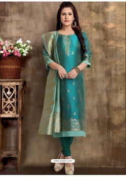 Teal Blue Readymade Heavy Designer Party Wear Straight Salwar Suit