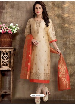 Cream Readymade Heavy Designer Party Wear Straight Salwar Suit