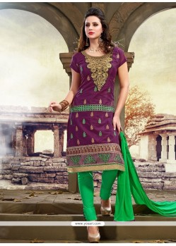 Fine Purple Chanderi Churidar Designer Suit