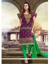 Fine Purple Chanderi Churidar Designer Suit
