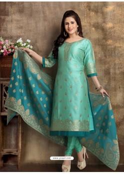 Aqua Mint Readymade Heavy Designer Party Wear Straight Salwar Suit
