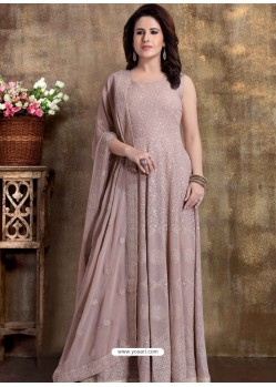 Light Brown Readymade Heavy Embroidered Designer Anarkali Suit