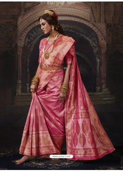 Hot Pink Dazzling Designer Party Wear Banarasi Silk Sari