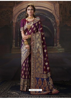 Purple Dazzling Designer Party Wear Banarasi Silk Sari