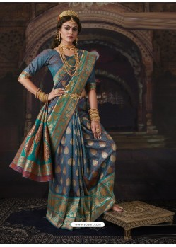 Blue Dazzling Designer Party Wear Banarasi Silk Sari