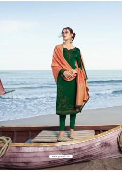 Dark Green Classy Heavy Designer Party Wear Straight Salwar Suit