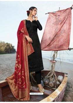 Black Classy Heavy Designer Party Wear Straight Salwar Suit