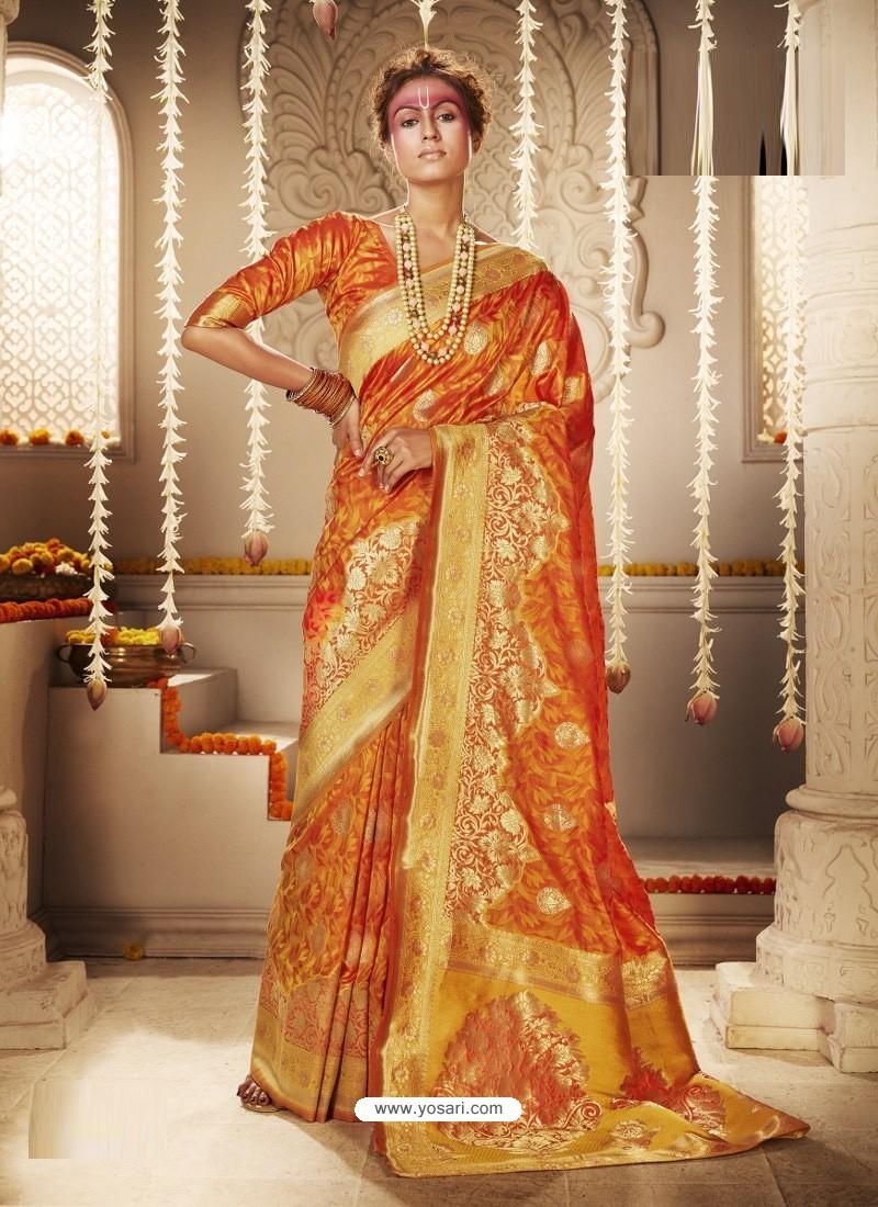 Orange Dazzling Designer Party Wear Banarasi Silk Sari
