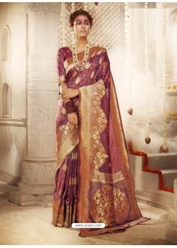 Maroon Dazzling Designer Party Wear Banarasi Silk Sari