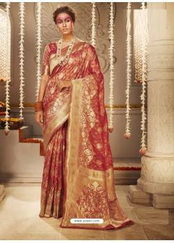 Red Dazzling Designer Party Wear Banarasi Silk Sari