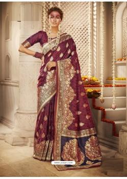 Deep Wine Dazzling Designer Party Wear Banarasi Silk Sari