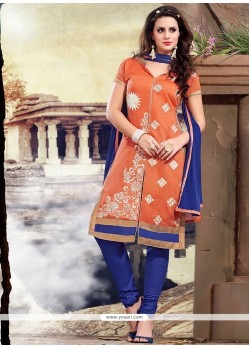 Titillating Embroidered Work Blue And Orange Chanderi Churidar Designer Suit