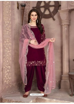 Medium Violet Designer Party Wear Velvet Punjabi Patiala Suit