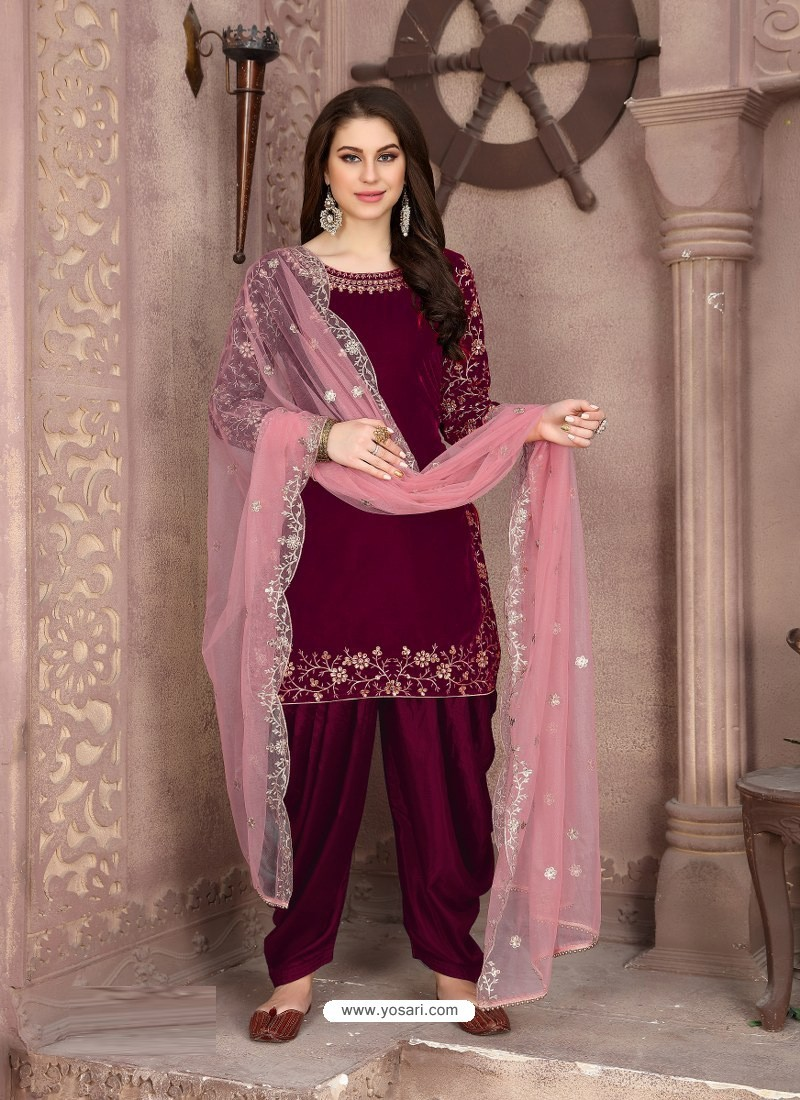 Medium Violet Designer Party Wear Velvet Punjabi Patiala Suit