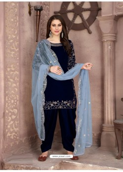 Royal Blue Designer Party Wear Velvet Punjabi Patiala Suit