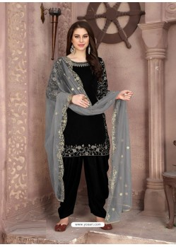 Black Designer Party Wear Velvet Punjabi Patiala Suit