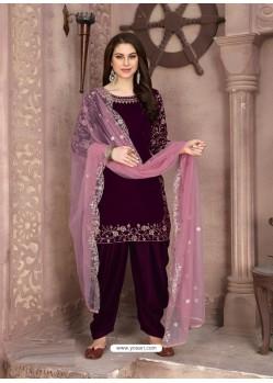 Purple Designer Party Wear Velvet Punjabi Patiala Suit