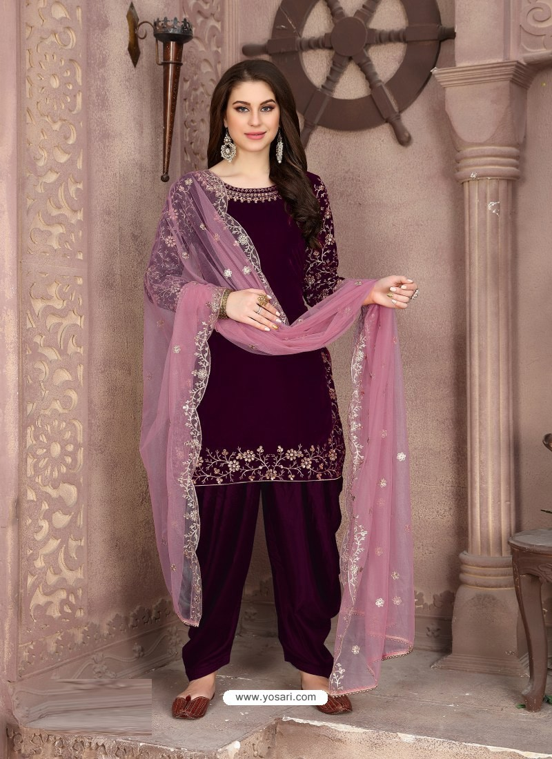 Purple Designer Party Wear Velvet Punjabi Patiala Suit