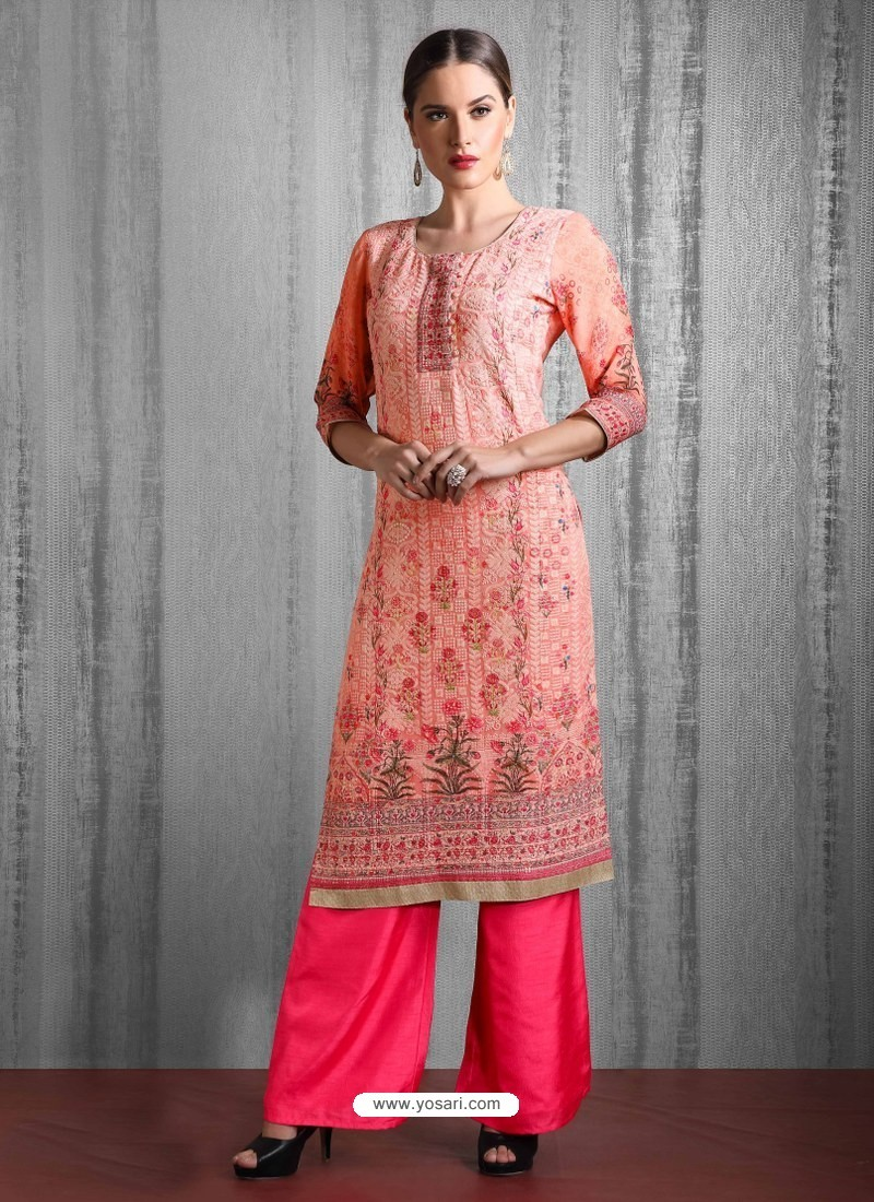 Peach Readymade Heavy Designer Party Wear Straight Salwar Suit
