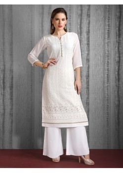 White Readymade Heavy Designer Party Wear Straight Salwar Suit