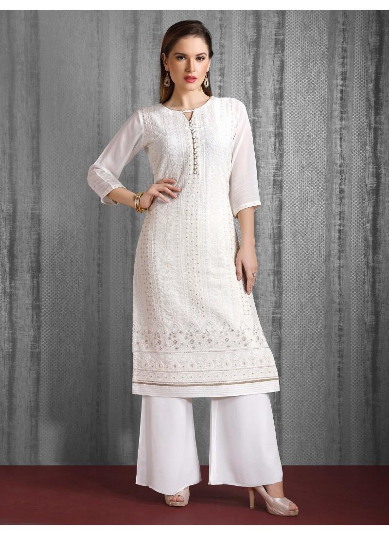 White Readymade Heavy Designer Party Wear Straight Salwar Suit