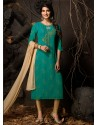 Teal Readymade Heavy Designer Party Wear Straight Salwar Suit