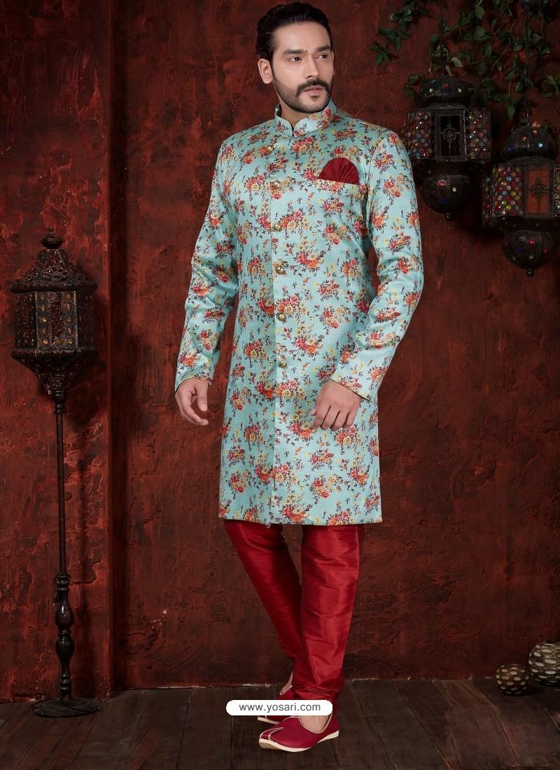 Sky Blue Readymade Designer Indowestern Sherwani For Men