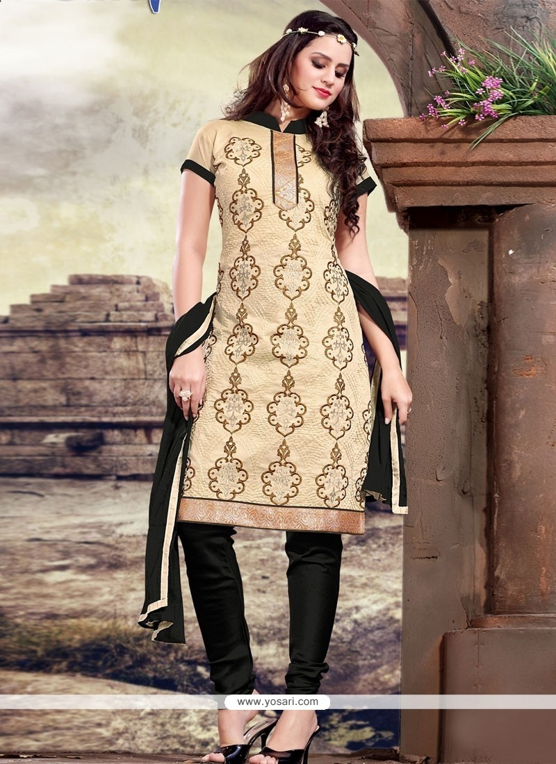 Lurid Black And Cream Churidar Designer Suit