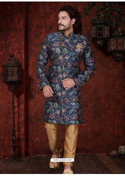 Dark Blue Readymade Designer Indowestern Sherwani For Men