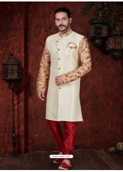 Off White Readymade Designer Indowestern Sherwani For Men
